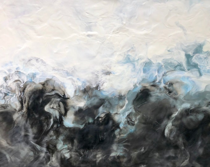 "Original, Encaustic, Fluid,  titled ""Stormy Grey""   / Artist Michele Bruchet"