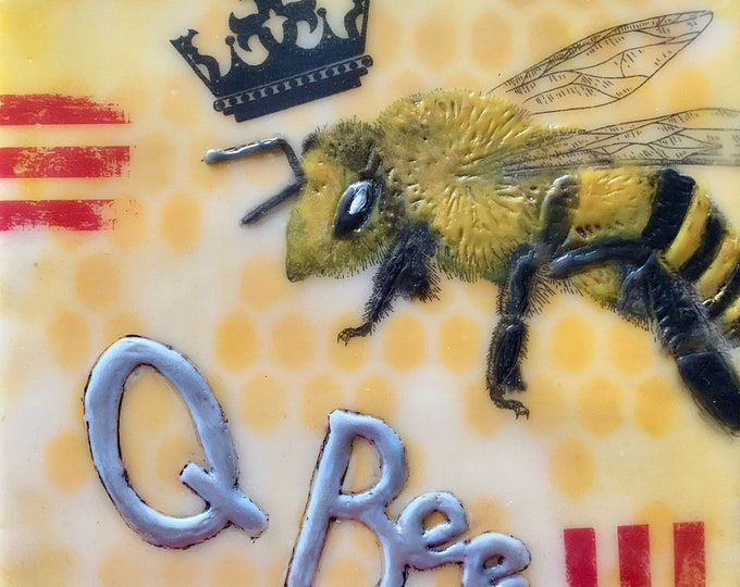 "Encaustic Bee painting, ""Queen Bee""  / Artist Michele Bruchet"