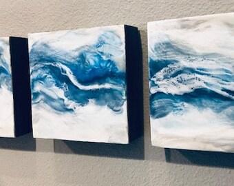 "Original encaustic, titled - ""Blue Wave""  / Artist Michele Bruchet"