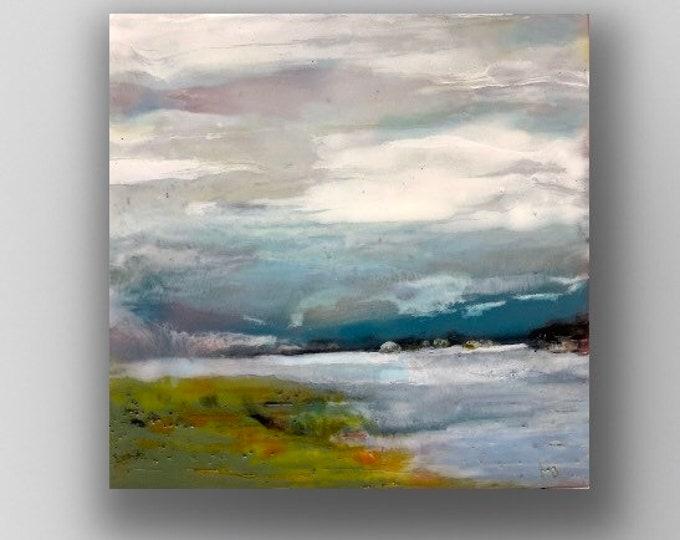 "Original encaustic titled ""Looking Outward""/ Artist Michele Bruchet"