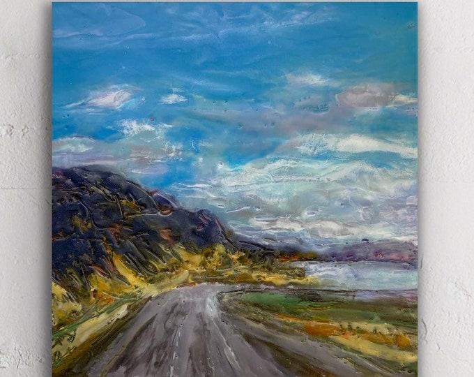 "Original encaustic titled ""Road to Vantage""/ Artist Michele Bruchet"