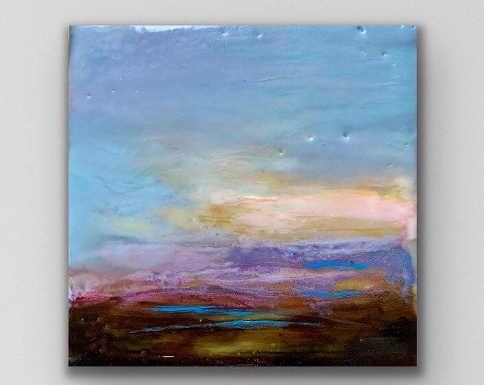 "Original encaustic titled ""Mini Sunset #4""/ Artist Michele Bruchet"