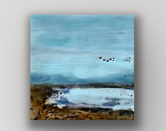 """Original, landscape, encaustic titled """"Mini landscape #11""""  / Artist Michele Bruchet"""