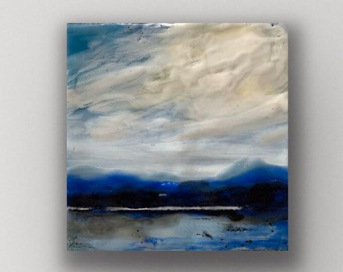 """Original, landscape, encaustic titled """"Mini landscape #3""""/ Artist Michele Bruchet"""