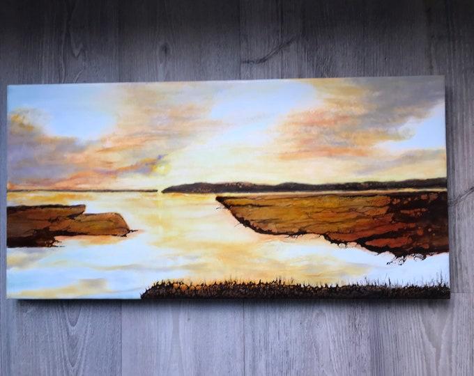 "Original,  encaustic titled ""On Golden Bay"" / Artist Nikki Bruchet"