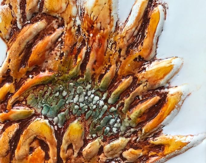 "Floral encaustic titled ""Sunflower ""   / Artist Nikki Bruchet"