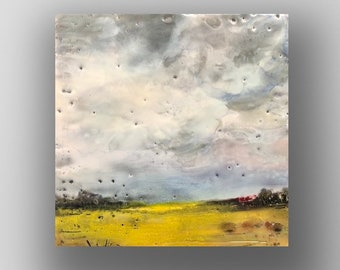 "Original encaustic titled ""Cover Crop""/ Artist Michele Bruchet"