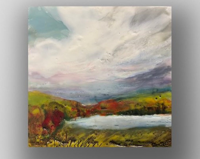 "Original encaustic titled ""Autumn at the Lake""/  Artist Michele Bruchet"