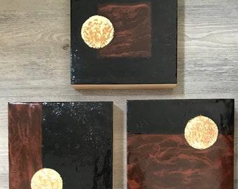 "Original encaustic titled ""Earth, Sky, Moon""/ Artist Nikki Bruchet"