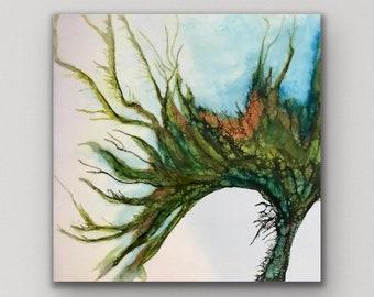 """Encaustic titled """"Mermaid Garden""""/ Artist Nikki Bruchet"""