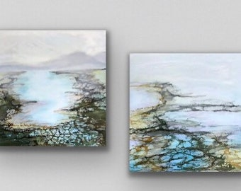 "Original, Encaustic, Landscape,  titled ""Hazy Dayz of Summer""   / Artist Nikki Bruchet"