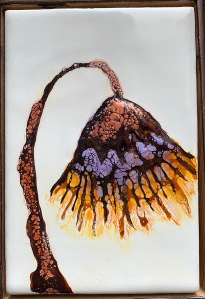 Original floral encaustic titled Unnamed    Artist Nikki Bruchet
