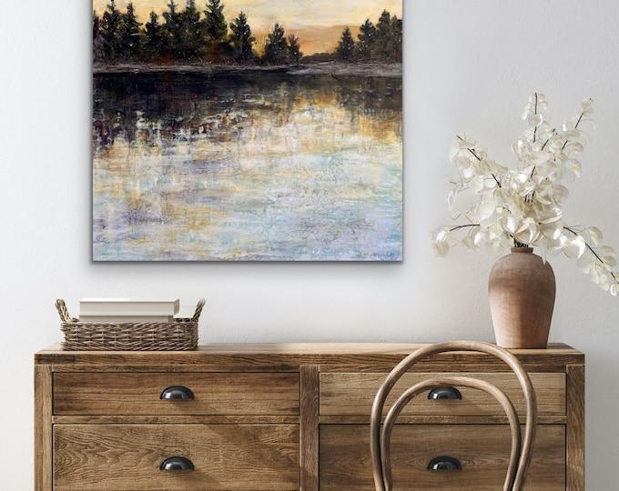 "Original, Encaustic, Landscape,  titled ""Every Time the Sun Goes Down""   / Artist Michele Bruchet"