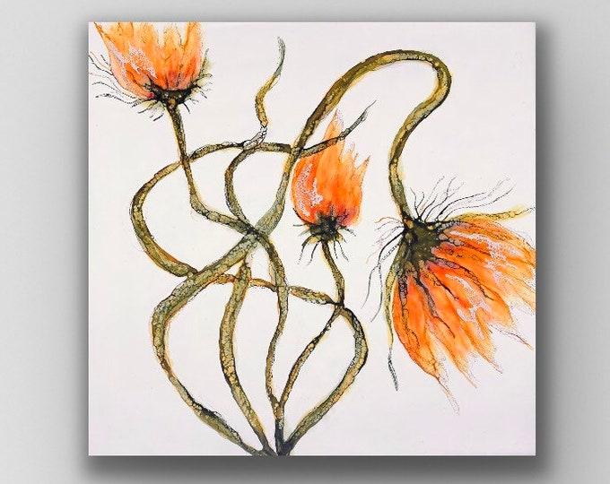 "Floral encaustic titled ""Sprung""   / Artist Nikki Bruchet"