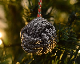 Christmas Bauble Silver Monkey Fist knot
