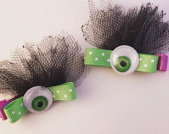 Hair Clips, Hair Bows, Hair Accessories, Monster Eyes, Halloween Hair Clips, Halloween Hair Bows