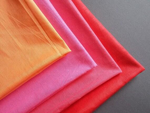 Tissu vintage coton soviétique coton vintage rose fuschia orange rouge af207f