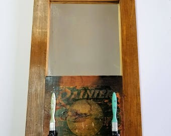Framed Mirror with Two Hooks