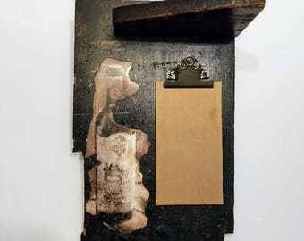 Wall Mounted Memo/Note Pad with Shelf Decorated with a Wine Bottle