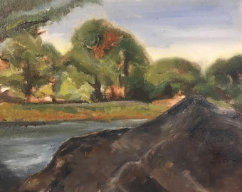 Rock River Trees Original Oil Painting