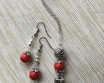 Red Dyed Quartzite Earring and Necklace Set