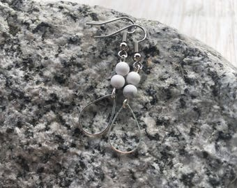 Matte White Howlite Gemstone Dangle Earrings