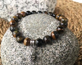 Blue Tiger Eye Bracelet with Pine Cone Charm