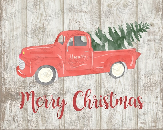 Red Truck Christmas Wall Art 8x10 Print Vintage Red Truck Etsy