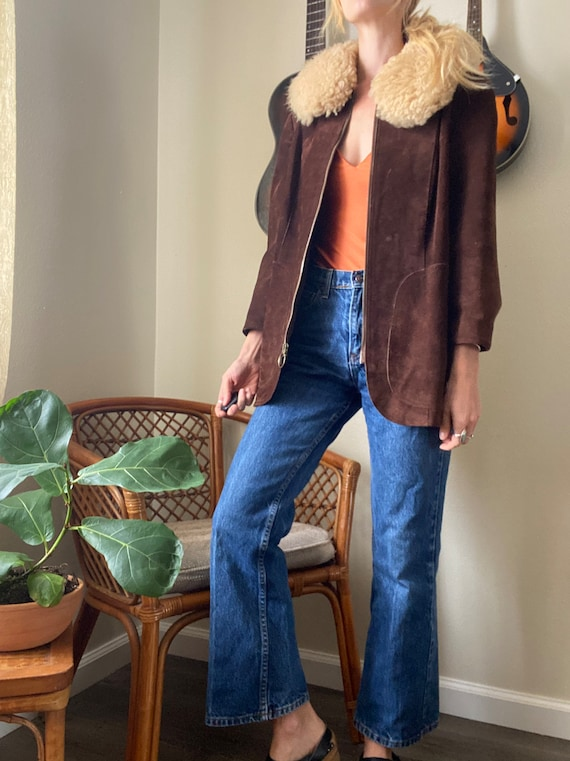 Vintage Suede with fur collar 70's Penny Lane Coat - image 6
