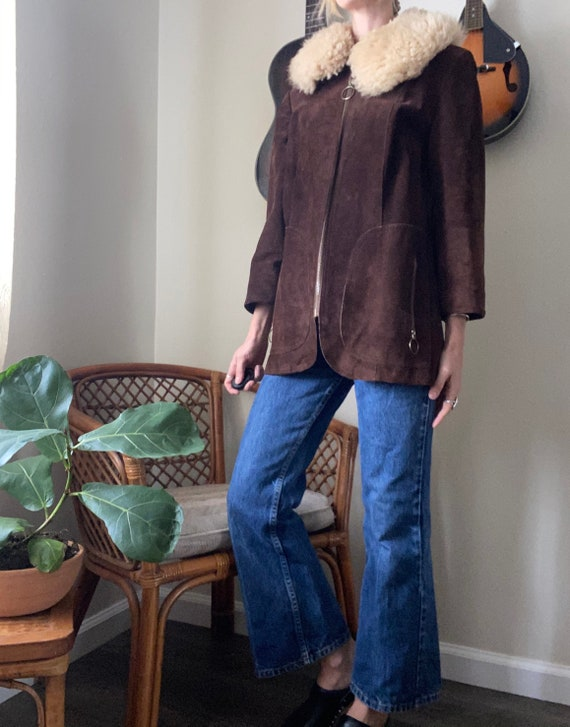 Vintage Suede with fur collar 70's Penny Lane Coat - image 5