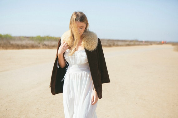 Vintage Suede with fur collar 70's Penny Lane Coat - image 1