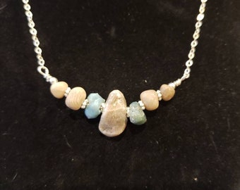 Petoskey stone and Leland blue with Sterling silver chain, necklace with lobster claw clasp (2)