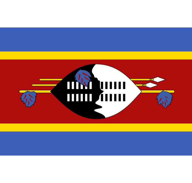 Swazi Africa Country World Symbol National Emblem Seal Clipart Digital Download Cricut Printable Swaziland Flag and Coat Of Arms SVG PNG