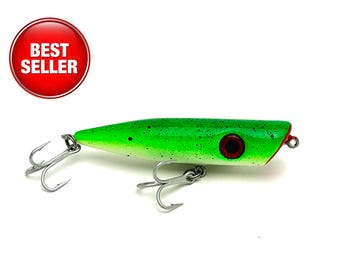Topwater Fishing Lure - Popper in Chartreuse and White with Red Accent