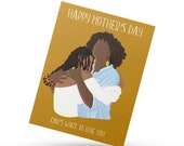 Mother's day greeting card, black mother card, black greeting card