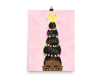 Holiday Black Art, Natural Hair Art, Black Girl Magic
