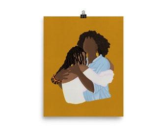 Black Mother Daughter Print, Black Art Print