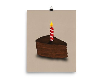 Celebration Art Print Birthday Cake Black Art