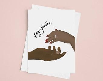 Engaged, Black love greeting card, Valentines card, Anniversary Card, Black Girl Magic