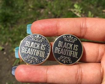 Black is Beautiful enamel pin | Black Pride Pin | Melanin Poppin Pin | Black Own