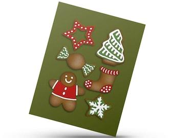 Gingerbread Christmas card, Happy Holidays, Merry Christmas card, Christmas Ornament, Festive winter Card
