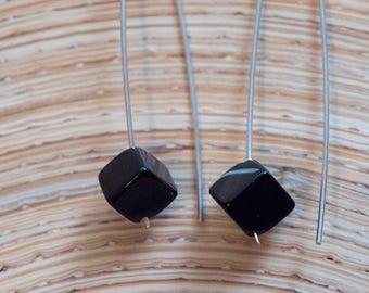 Black Onyx Cube Sterling Silver Earrings
