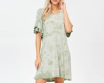 Erina Boutique Comfort Organic Bamboo Jersey Flare Women Dress Sage Made in USA