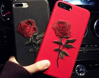 iphone 7 plus case etsyiphone 7 plus case,iphone 8 plus case,embroidery case,rose case, best gift for her
