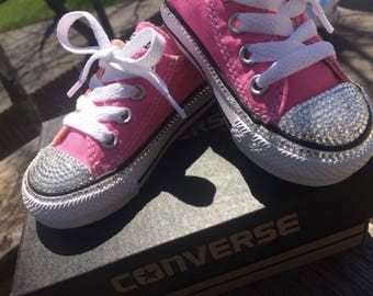 Custom Swarovski crystal blinged out Converse baby sneakers