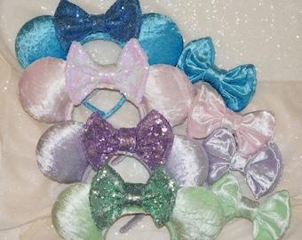 Velvet Minnie Ears   Pastel Minnie Ears   Crushed Velvet Ears   Millenial Pink Ears   Mint green Ears   Lavender Ears   Blue velvet Ears