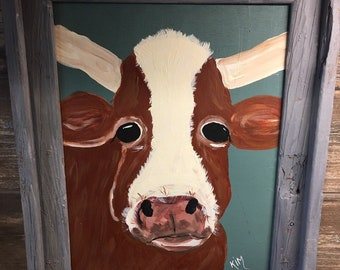 Hereford cow with horns painting in barnwood frame