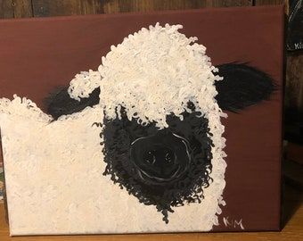Valais black nose sheep painting on canvas.  Hand drawn, hand painted.