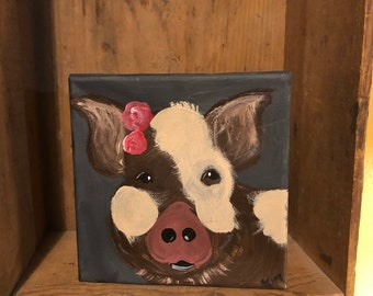 Pig painting on canvas.  Shelf sitter