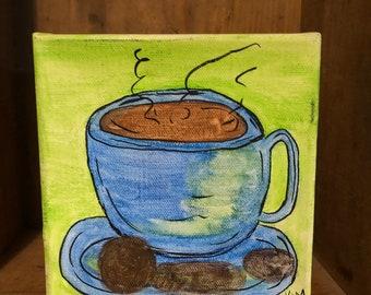 Watercolor coffee art on canvas.  Shelf sitter.  Original